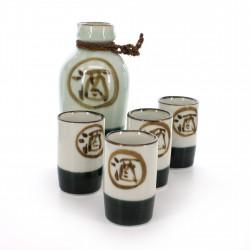 4 cups ans 1 bottle sake set with kanji sake white MARU SAKE TOKKURI