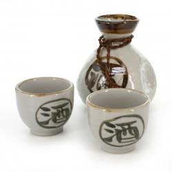 sake bottle with kanji sake white