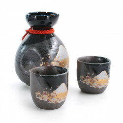bottle and two sake cups set with fujisan pictures black FUJI SAKURA