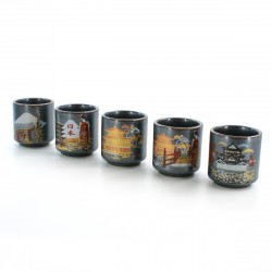 five sake cups set with 5 japan pictures black TETSU KESSHÔ NIHON FÛKEI