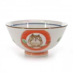 rice bowl with owl pictures red KOHIKI MORI NO CHIE FUKURÔ NAKAHIRA