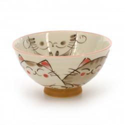 bol de riz traditionnel japonais avec images chat KOHIKI MIKE NAKAHIRA