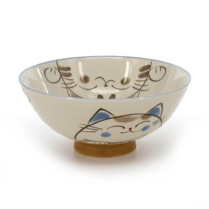 rice bowl with cat pictures white KOHIKI MIKE KERYÔ