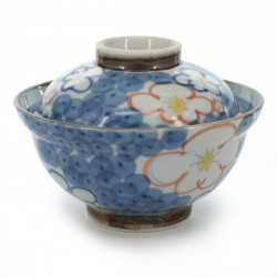 bol de riz traditionnel japonais avec couvercle et motifs fleurs de prune NISHIKI UME