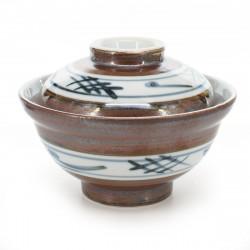 bol de riz traditionnel japonais avec couvercle et motifs bleus SABI IGETA