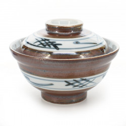 Tazón de cerámica japonés con tapa, SABI IGETA, marrón y blanco