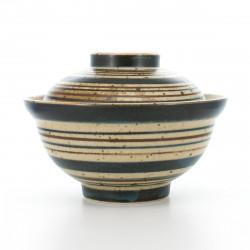 Ciotola in ceramica giapponese con coperchio, AOKOMASUJI, blu e marrone