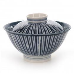 bol de riz traditionnel japonais avec couvercle et lignes bleues NAISHO TOKUSA