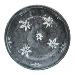 large-sized bowl with white maple leaves patterns grey KÔYÔ CHIRASHI