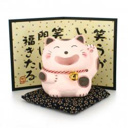 cat statuette ornament with proverb beige WARAFUKU NEKO
