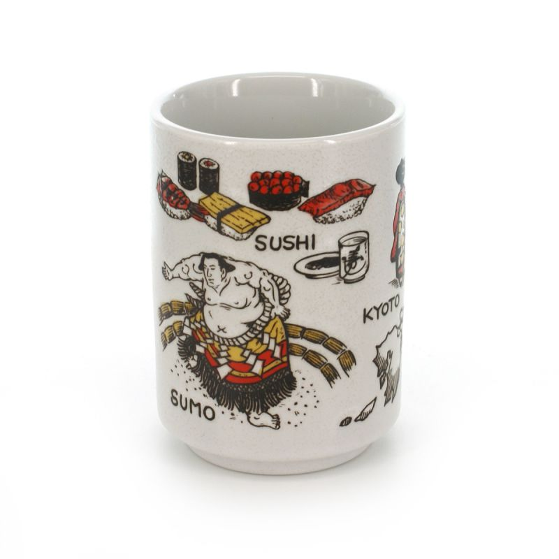 teacup with pictures white JAPAN