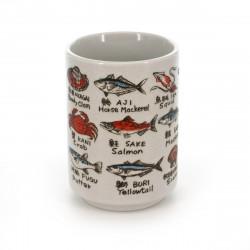tasse traditionnelle japonaise à thé avec dessins SAKANA EIGO