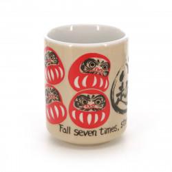 tasse Daruma japonaise à thé avec dessins et proverbe NANAKOROBI