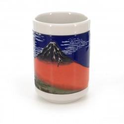 tasse traditionnelle japonaise à thé avec dessins mont fuji AKAFUJI