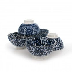 5 teacups set with flower patterns white and blue SHIMITSU