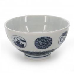 bol à thé traditionnel japonais avec motifs bleus MARUMON SANSUI