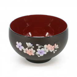 large-sized bowl with sakura flower patterns black RENJI HOKKORI DAIWAN SAKURA
