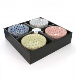 set de 5 tasses traditionnelles japonaises avec motifs ASANOHA