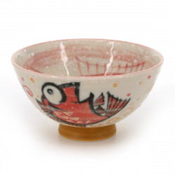tea bowl with fish patterns red MEDETAI