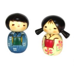 duo de poupées japonaises Kokeshi Doll set en bois NAKAYOSHI