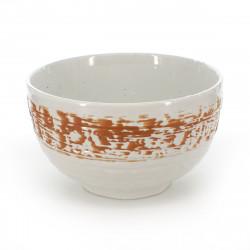 Japanese ceramic soup bowl white and green - shirakaba
