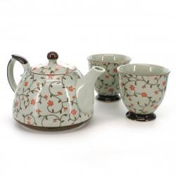 teapot and two teacups set with red flower patterns white KOZOME KARAKUSA AKA