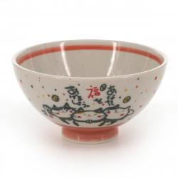 bol à thé traditionnel japonais avec motifs chats couleur rouge en céramique KITARU FUKU NEKO