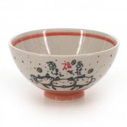 Japanese traditional colour red tea bowl with cat patterns in ceramic KITARU FUKU NEKO