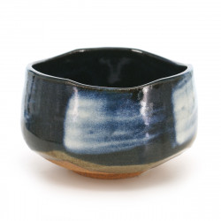 Japanese traditional colour blue matcha bowl in terracotta KON UWAGUSURI SHIROHAKE