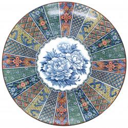 grande assiette avec motifs et fleurs couleur en terre NISHIKI