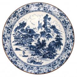 grande assiette avec image paysage bleu couleur blanche en céramique SHIN SANSUI